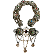 19th Century 800 Silver Filigree Bracelet and Brooch...