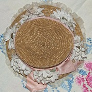 "REDUCED Antique Straw Doll Bonnet, Lavish Trim for 22-24"" bebe"