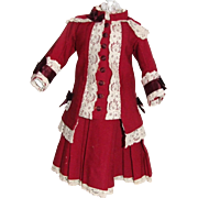 """Wonderful Antique 2 piece ruby red cashmere doll outfit for 22"""" bebe"""