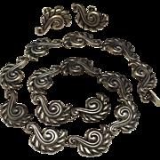 Vintage Gerardo Lopez Taxco Mexican Sterling Silver Nouveau Repousse Necklace Earrings Set