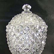 Flint Glass Covered Sugar - Sawtooth Pattern  - Boston Sandwich Company –  Circa: 1850's