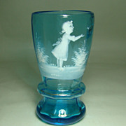 Mary Gregory Blue Tumbler/Vase – Girl at Play