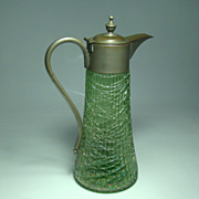 SALE Loetz or Loetz Type Ribbed and Threaded Green Glass Syrup Jug with Pewter Handle and Hing