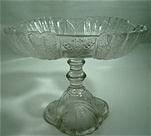 """EAPG Square Compote – Portland Glass Company – """"Shell and Tassel Pattern – Circa: 1860's"""