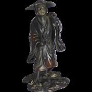 Bronze Figurine of an Oriental Farmer, Early 1900's