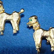 Pair of Vintage Gold Toned Poodle Dog Pins with Rhinestones