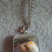 Sterling Silver Abalone Necklace with Sterling Silver Chain