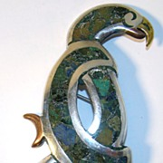 Beautiful Los Ballesteros Sterling Silver Parrot Pin with Mixed Metals, Crushed Turquoise and Other Stone Inlay