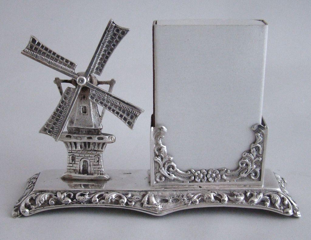 Dutch Miniature 830 Silver Windmill Card Holder with Moveable Blades – Herbert Hooijkaas - Netherlands