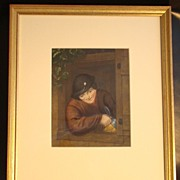 "Lemon Gold Framed Hand Colored Print ""Dutch Boy"""