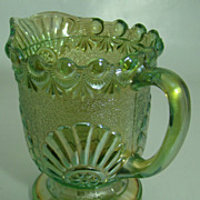 "EAPG Iridescent Green ""Shell and Jewel"" Cream Pitcher – Westmoreland Specialty Glass C0."