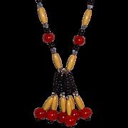 Red Bakelite & Wood & Glass Beaded Long Necklace 1960's OOAK