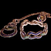 Vintage Italian Sterling Silver Enamel Set -Bracelet, Necklace, Ring