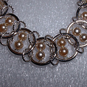 Signed GOLDETTE Faux Pearl Silver Tone Link Bracelet