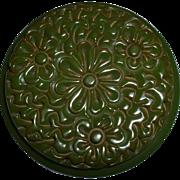 Lovely Large Green Bakelite Flower Round Brooch Pin