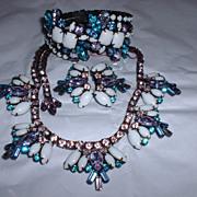 Unsigned Hattie Carnegie 3 Pc. Rhinestone Set Necklace Clamper Earrings