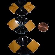 SOLD Vintage Cream & Black Salesman's Sample BAKELITE Buttons (3)