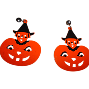 Vintage Celluloid Halloween Earrings on Card