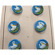 Vintage Novelty Glass Buttons 6 with Ducks