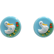 Vintage Set 6 Novelty Blue Glass Duck Buttons