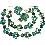 Vintage Signed HATTIE CARNEGIE Ocean Color Blue Green Rhinestone 3 Pc. Set
