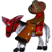 Vintage Combination Bakelite, Wood and Lucite Mexican with Wooden Hat on Lucite Donkey Brooch