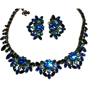 Vintage Signed Alice Caviness Blue Green Rhinestone Necklace and Earrings Set