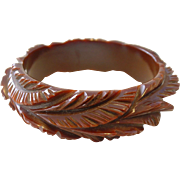 Vintage Outstanding Heavily Carved Brown BAKELITE Bangle Bracelet