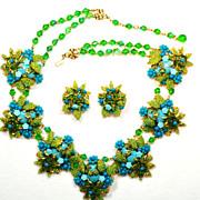 SALE Ian St. Gielar Stanley Hagler Turquoise Green Glass Beaded Signed SET