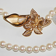 SALE Vintage Richelieu Simulated Pearl Necklace with Gold Tone Butterfly Clasp