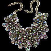 REDUCED Vintage Juliana Huge Heavy Smokey Rhinestones Aurora Borealis Crystals Simulated Pearl