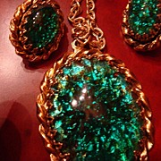 SALE Wonderful Demi-Parure Large Green/Gold Colored Foiled Cabochon Necklace and Earrings