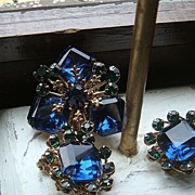 3 Piece Demi Parure Emerald Cut & Round Faceted Stones Brooch & Earrings