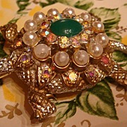 Great Diamond Back Turtle Pin With Cabochon, Faux Pearls, Aurora Borealis, Rhinestones