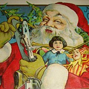 SALE 'Up Close' Santa Claus Postcard Early 1900's Doll, Joker, Skates, Drum: Stecher Lith.