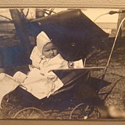 SALE Old Black & White Dorothy Wiemann Photograph Baby Vintage Baby Carriage / Buggy Paduc