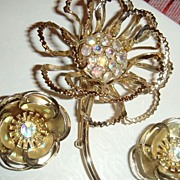 SALE Large Flower Brooch & Earrings With Aurora Borealis Stones Marked