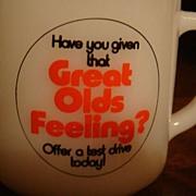 SALE Oldsmobile Test Drive Advertising Mug Excellent