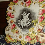 Victorian Era  Die Cut Valentine Roses, Daisies, Mandolin & Bare Bottom Cherub/Angel