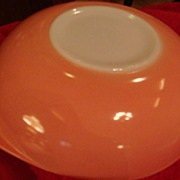 SALE Great Pyrex Fired on Pink & White Tab Handled 2 Quart Bowl!