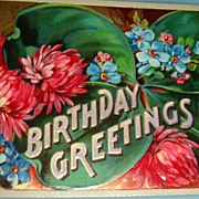 SALE 1912 German Embossed Postcard Flowers Birthday