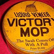 SALE Vintage 'Liquid Veneer VICTORY MOP'  Mustard Color Advertising Tin