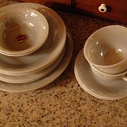 SALE 2 Place Settings Gray Laurel Fire King With Original Labels 12 Pieces