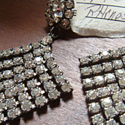 SALE Large and Beautiful Pierced Dangling Diamond Shaped Prong Set Clear Rhinestone Earrings P