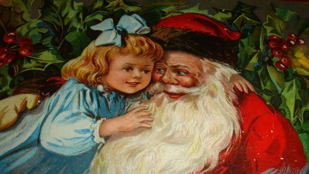 Beautiful Early 1900s Santa Claus Hugging Little Girl in Blue Postcard!