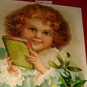SALE Beautiful Victorian Child With Book Christmas Postcard Germany