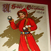 SALE Great 1914 Embossed Christmas Postcard Signed, Lady In Red Coat With Fur, Old Wooden Sled