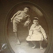 Cabinet Card Two Barefoot Boys Perhaps Brothers Wearing White Kippah(Skullcap)