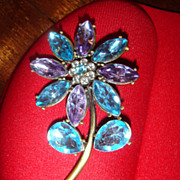 Turquoise or Aqua Blue & Purple Rhinestones Flower Brooch from 1970's or 80's