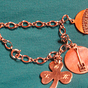 SALE Advertising Charm Bracelet With 3 Sterling Silver Charms Life of Kentucky